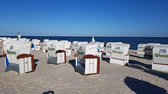Grömitz Strand und Strandkörbe mit Möwe