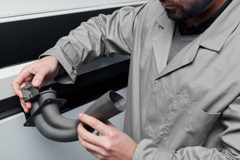 3D gedruckter Krümmer, Strömungskanal zur Luftkühlung aus dem HP Jet Fusion 3D Drucker