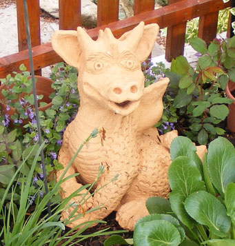 Keramik Drache Fridolin Unikat ca. 60cm groß