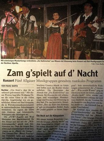 Pressebericht: Zam g'gspielt auf d'Nacht in Buchloe mit den Kultivierten