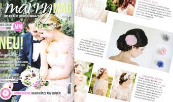 Schönmich Haarschmuck in der Zeitschrift marryMAG für die Braut. Haarblüten in rosa, grau und royal blau.