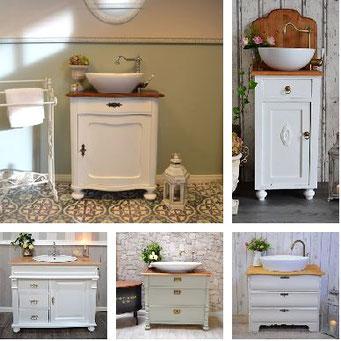 Landhausstil im Badezimmer: Waschtische mit dunkler Tischplatte und hellem Korpus