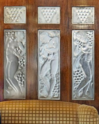 Orient Express, Lalique, Paroi Verre, Art Deco, Années 20, Années 30, Artisanat Verre, Décoration Intérieure, Décoration Murale, Décoration Luxe, Intérieur Luxe, Mélange Bois et Verre