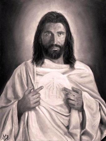 Bild unseres Herrn Jesus Christus, wie er sich seinem Vertrauten zeigt