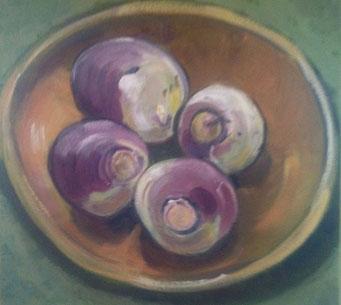Turnips, 8 x 8 acrylic