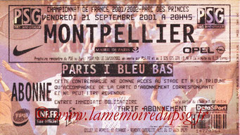 Ticket  PSG-Montpellier  2001-02