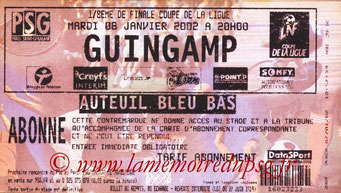 Tickets  PSG-Guingamp  2001-02