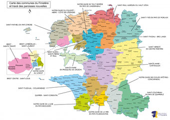 Carte des paroisses nouvelles du diocèse de Quimper et Léon