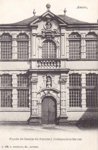 Façade et porte d'entrée de l'atelier de Jordaens à Anvers, vers 1902