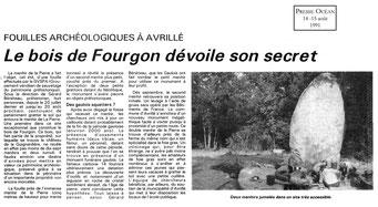 1991 - Le bois de fourgon dévoile son secret - Presse Océan