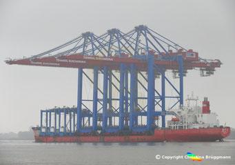 ZPMC Spezialschiff ZHEN HUA 27 mit 3 Containerbrücken für die HHLA Bild 2