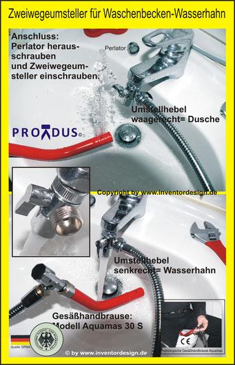 Analhygiene. Zweiwegeumsteller. Umstellventil. Prokdus Manufaktur. Toilettenhilfen SanitätshausShop.