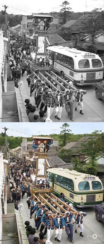 修復・色再現 作業前→作業後比較 1960(昭和35)年4月17日、石川県の宇出津