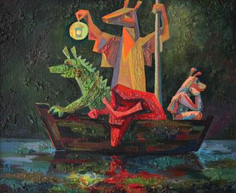 "Prihodko Marina, ""Family. Look for luck"", Öl auf Karton, 50 x 60 cm, 2011, gerahmt"