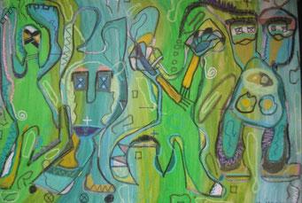 """""""4 Kobolde oder 8"""",  Goache und Pastellkreide auf Leinwand  01/98"""