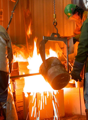 Pouring iron at Max Cast Foundry in Iowa