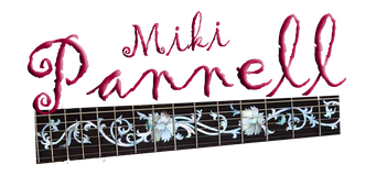 Miki Pannell logo graphic with flowery letters and guitar fretboard