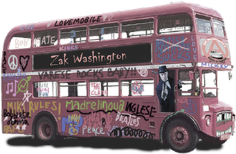 Learn English with Zak Washington. Double decker bus. London bus. Old Routemaster bus. Graffitied bus.