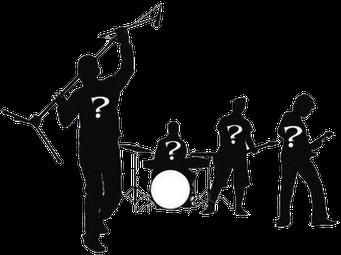 Band mit Fragezeichen auf ihren Shirts, Bandsuche und Booking Wuppertal NRW, Rock, Pop, Jazz, Party, Blues