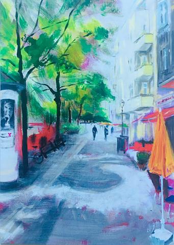 Leonhardstrasse . 80 x 100 cm . Acryl on Linen . VERKAUFT