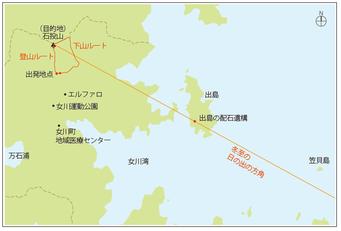 女川町 石投山と出島の位置関係