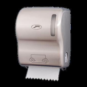 Despachador de toalla en rollo precorte AG56011 Color: Níquel Barniz Dimensiones en milímetros: Alto: 360 Largo: 285 Ancho: 235 Capacidad: Papel encolado de 40 g Contenido por caja: 1 pieza