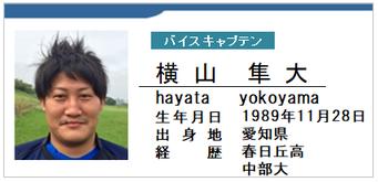 バイスキャプテン/横山隼大/hayata yokoyama/愛知県名古屋市/ラグビー歴:春日丘高/中部大