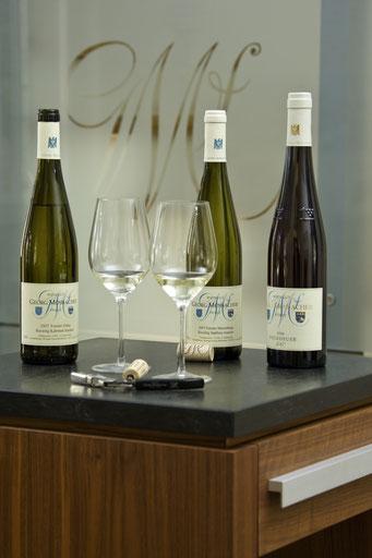 Weinverkostung einer Selektion vom Weingut Georg Mosbacher Forst