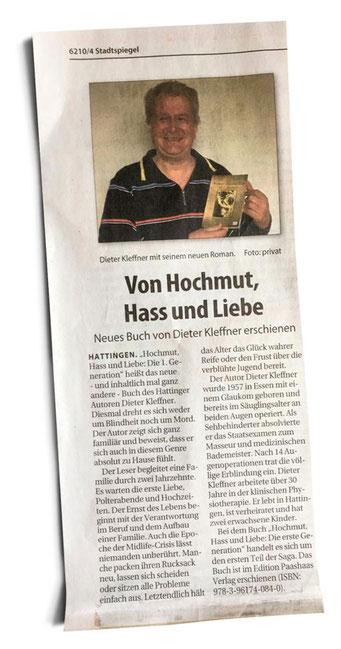 Abbildung des Zeitungsartikels aus dem Stadtspiegel