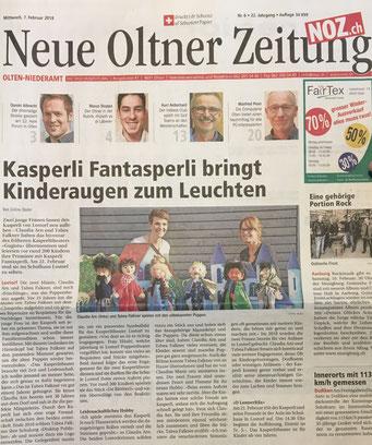 Kasperlitheater in der Zeitung