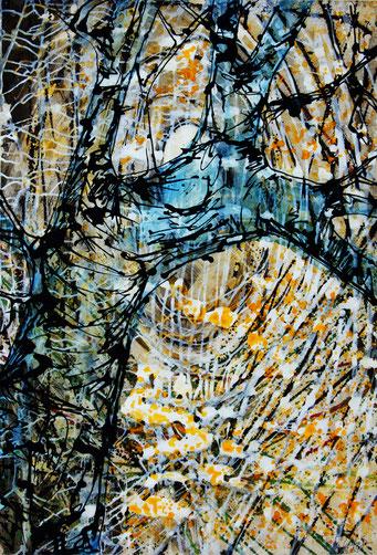 Ati von Gallwitz, Treelines 1, Acryl/Tusche, 100x72 cm, 1998