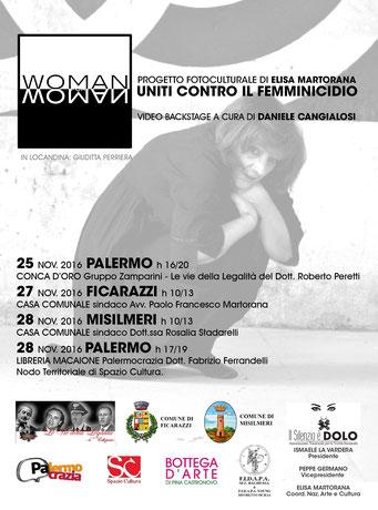 """Locandina Tour di Elisa Martorana """"WOMAN for WOMAN 2016 - Uniti contro il femminicidio"""" 2016"""
