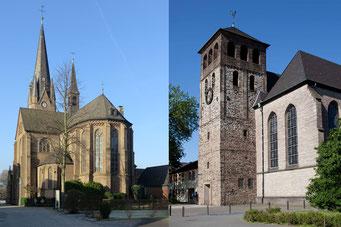 Ein Huckinger aus St. Peter und Paul (l.) besichtigte kürzlich alle neun Kirchen der Pfarrei St. Johann (r.)  in Hamborn