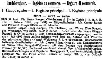 Handelsregistereintrag vom 30. Juni 1899