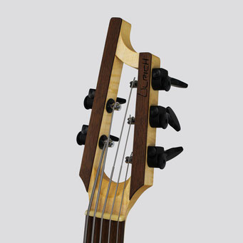 A modern custom bassguitar with a slotted head. this great construction method traces back to the spanish guitar. handmade by a german master luthier