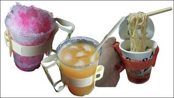 カピンコは冷たい飲料を入れた容器を保持するのが有効だ。手が冷たくならない、水滴で手が濡れない、手の温もりで飲料が温まない・・・氷で試してみればその効果は一瞬でわかる。氷は食べ終わるまで0度を維持、持ち続けるのは辛いもの。