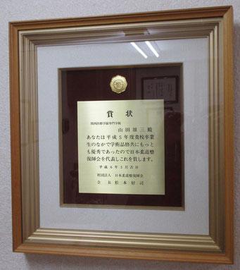日本柔道整復士会からの表彰状