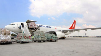 Loading of one of TK Cargo's A330 freighters.