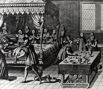 Les chirurgiens tentent de sauver le roi. (Source : Wikimedia. Jacques Tortorel & Jean Perrisin)