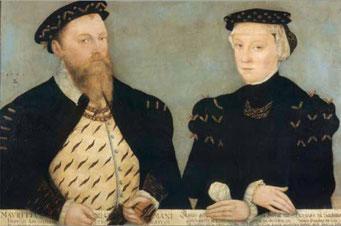 Moritz von Sachsen und Ehefrau Agnes von Hessen, die das Amt Radeberg als Leibgedinge erhielt.
