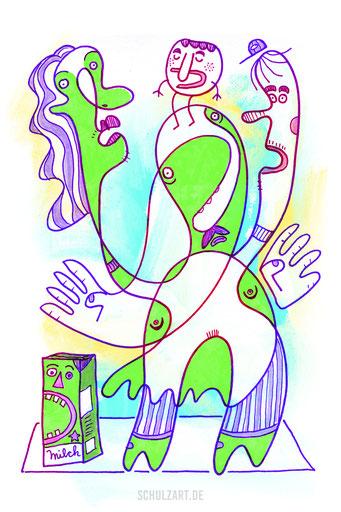 Fünf schräge grüne Figuren auf Teppich, gezeichnet von Frank Schulz Berlin