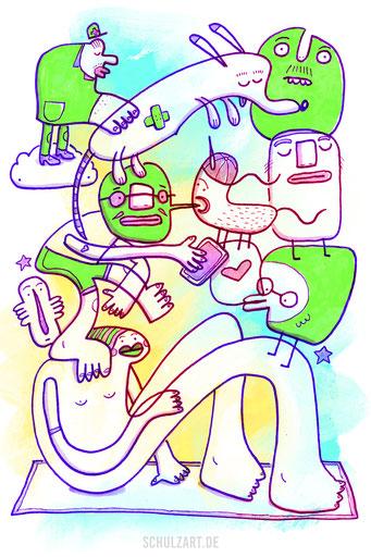 Zeichnung mit gestapelten Figuren von Frank Schulz