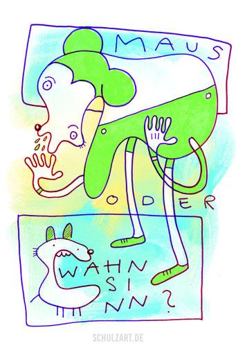 Zeichnung einer grünen Maus von Frank Schulz.