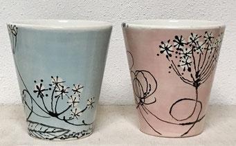 Becher-zitronengold - Keramik bemalen
