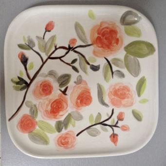 zitronengold - Keramik bemalen Teller eckig