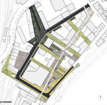 ©AP°5, S. LEMOINE architecte mandataire ,A. VON MEIER architecte associé, assistés par V.COMITO, M.LENZEN. ZAC SUD SAINT COSME, CHALON-SUR-SAÔNE [SEM Val de Bourgogne]: SOLS PERMÉABLES, CHOIX DES MATÉRIAUX, RECYCLAGE