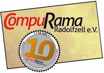 Logo auf goldenem Hintergrund mit 10-Jahre-Siegel