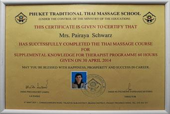 Phuket Traditional Thai Massage School, Zertifikat
