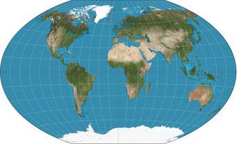 大西洋を中心にした世界地図