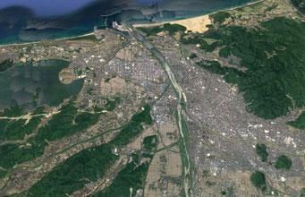 鳥取市(Google Earthより)